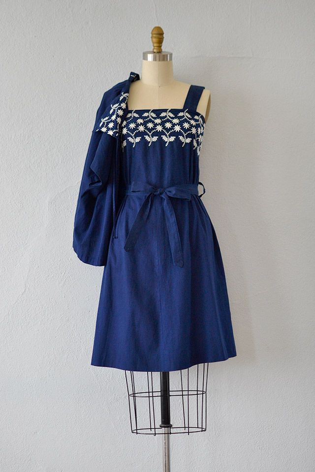 The Essential 1940s Style Blouse Vintage Frills: 1940s Blue Embroidered Sundress With Bolero