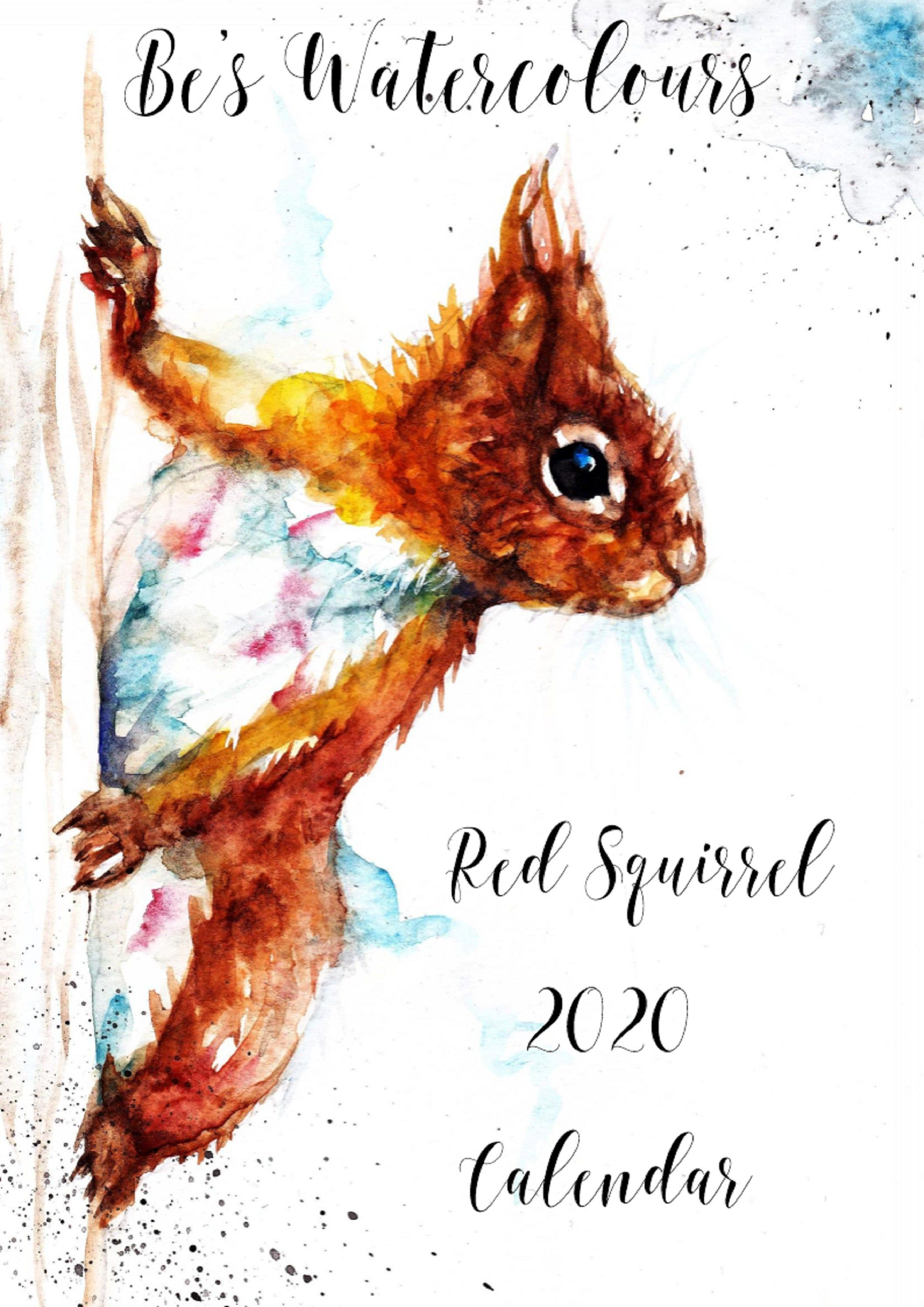 2020 Calendar Red Squirrel Watercolour 2020 Calendar A4 Calendar