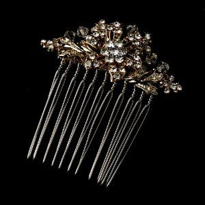 Petite Gold Bridal Wedding Headpiece Hair Comb with Austrian Crystals Melissa Kay Collection. $43.92