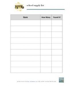 School Supply List Blank School Supplies List School Supplies
