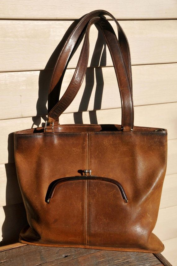 Vintage Authentic Coach Brown Glove Leather Tote Shoulder Purse Measures 12 1 2w X 11 2 Double Straps Rox 22 Clean Inside Large Back Wall Slot Pocket