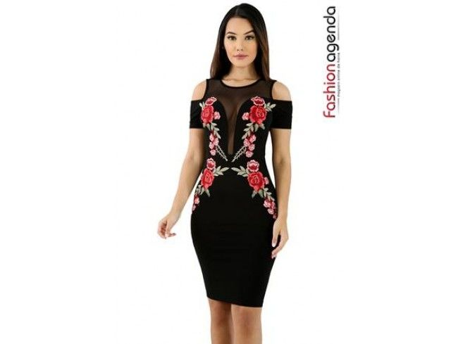 Rochie mulata neagra cu plasa si imprimeu floral ilinca rochii