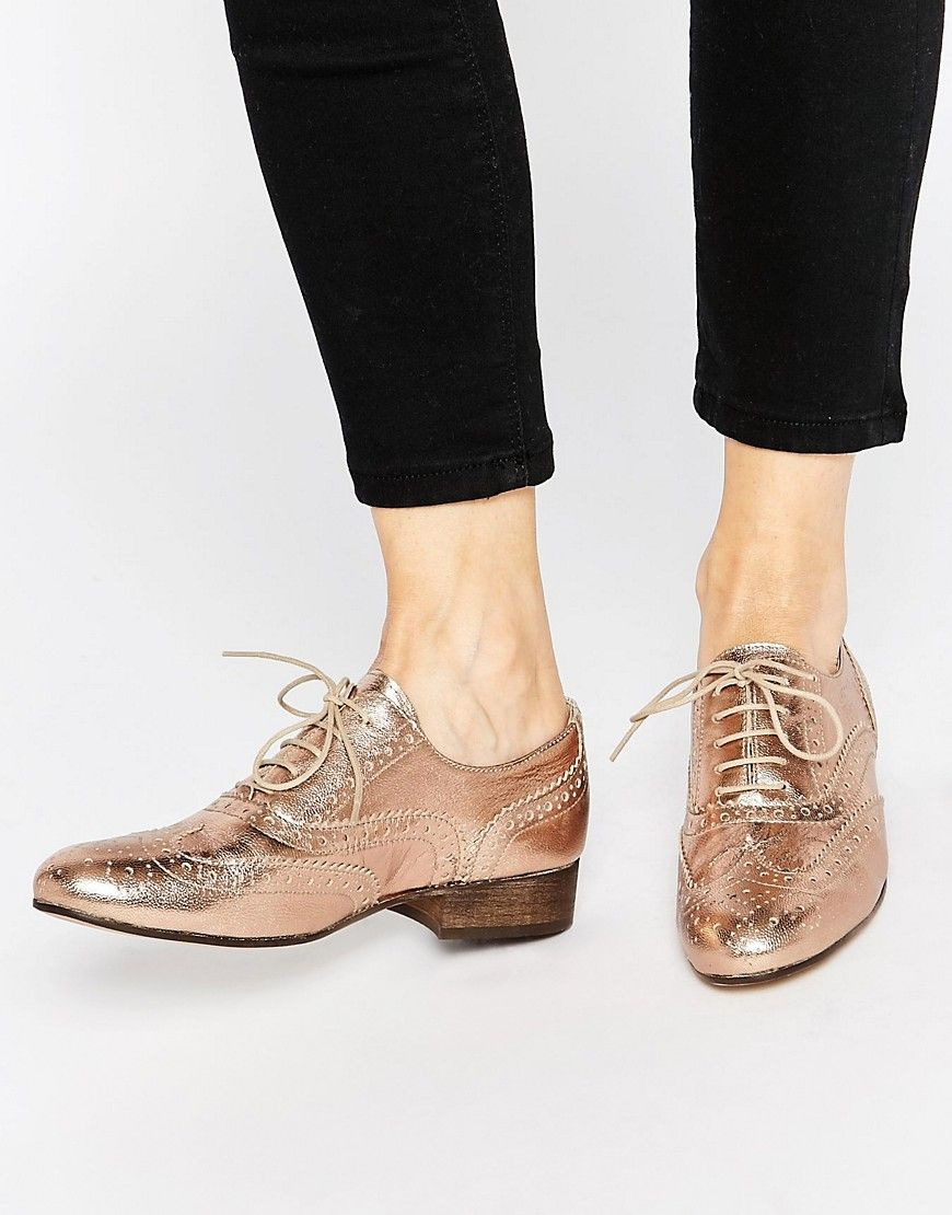 Buy Women Shoes / Dune Ferne Rose Gold Leather Brogue Flat Shoes