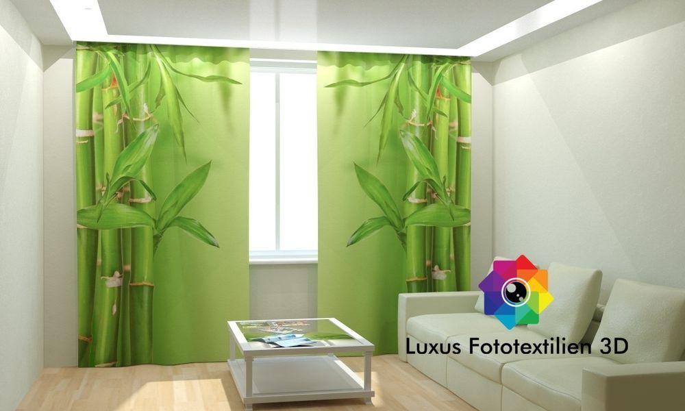 fotogardinen 3d bambus fotovorhang gardinen vorhnge motiv maanfertigung wohnzimmer gardinen bei ebayde - Gardinen Wohnzimmer Ebay