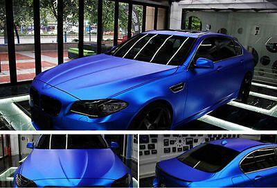 Matte Satin Stretch Chrome Blue Air Bubble Free Vinyl Film Car Wrap 1.52m x 0.3m 9552636833534 | eBay