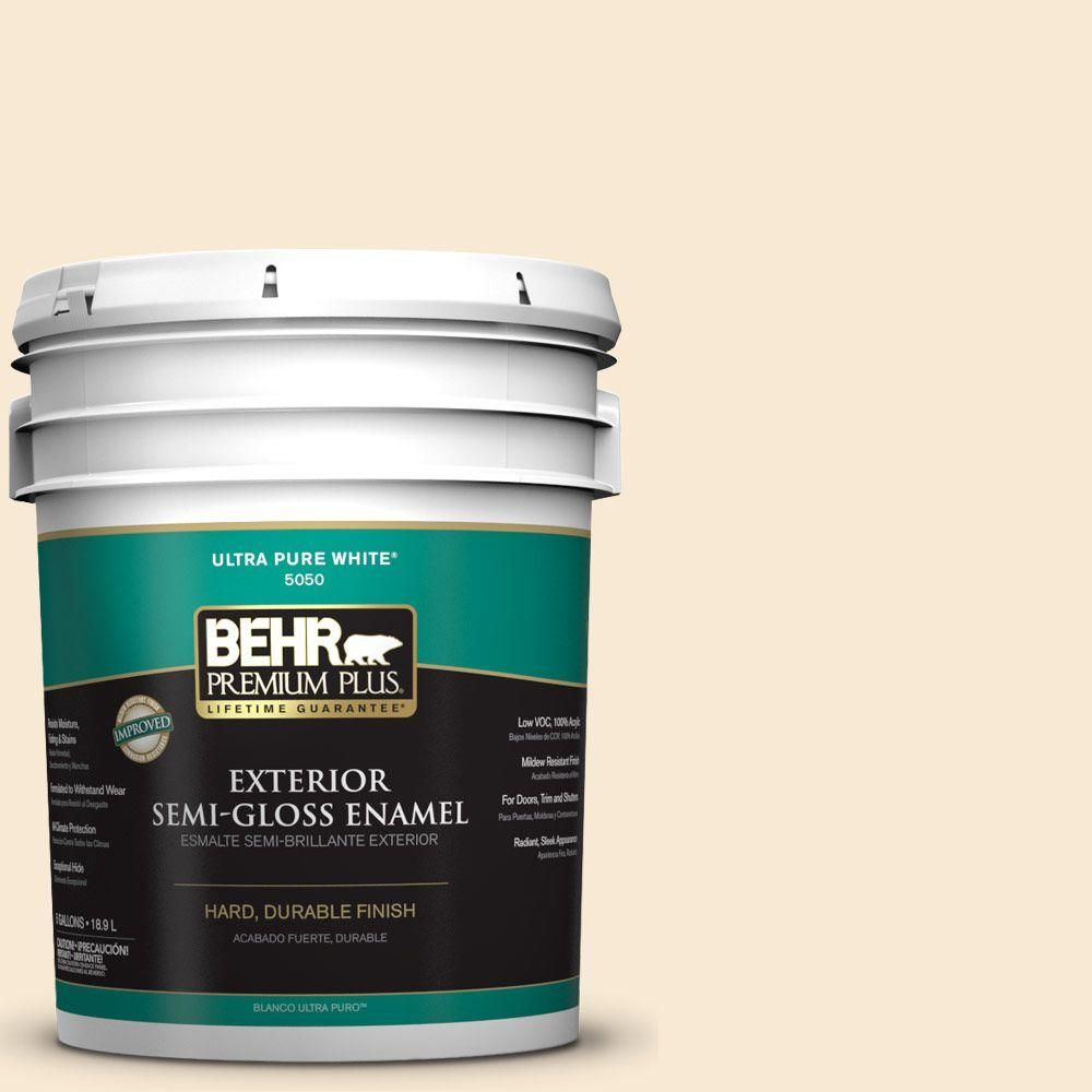BEHR Premium Plus 5-gal. #OR-W5 Almond Milk Semi-Gloss Enamel Exterior Paint