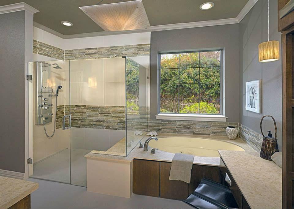 Master Bathroom With Whirpool Bathtub Jet Shower Head Limestone