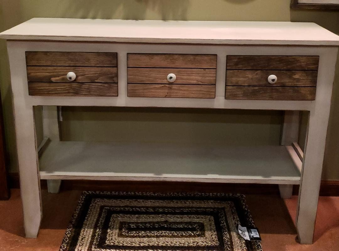 Farmhouse Console Table Three Drawer Console Table Country Style Console Table Console Tables With Images Farmhouse Console Table Rustic Sofa Tables Console Table