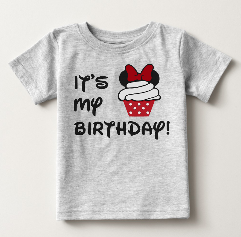 Its My Birthday Minnie Mouse Cupcake T Shirt