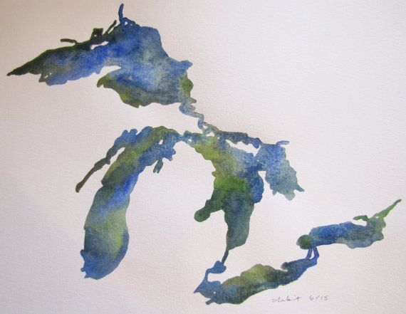 The Great Lakes In Blue Green 8x10 Watercolor Painting Michigan Art Great Lakes Tattoo Great Lakes Map