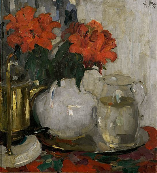 Adolf Höfer (1869-1927) Description	 Stilllife with red flowers and a glass carafe Date	by 1914 Medium	oil on canvas Dimensions	20 × 22 in (...