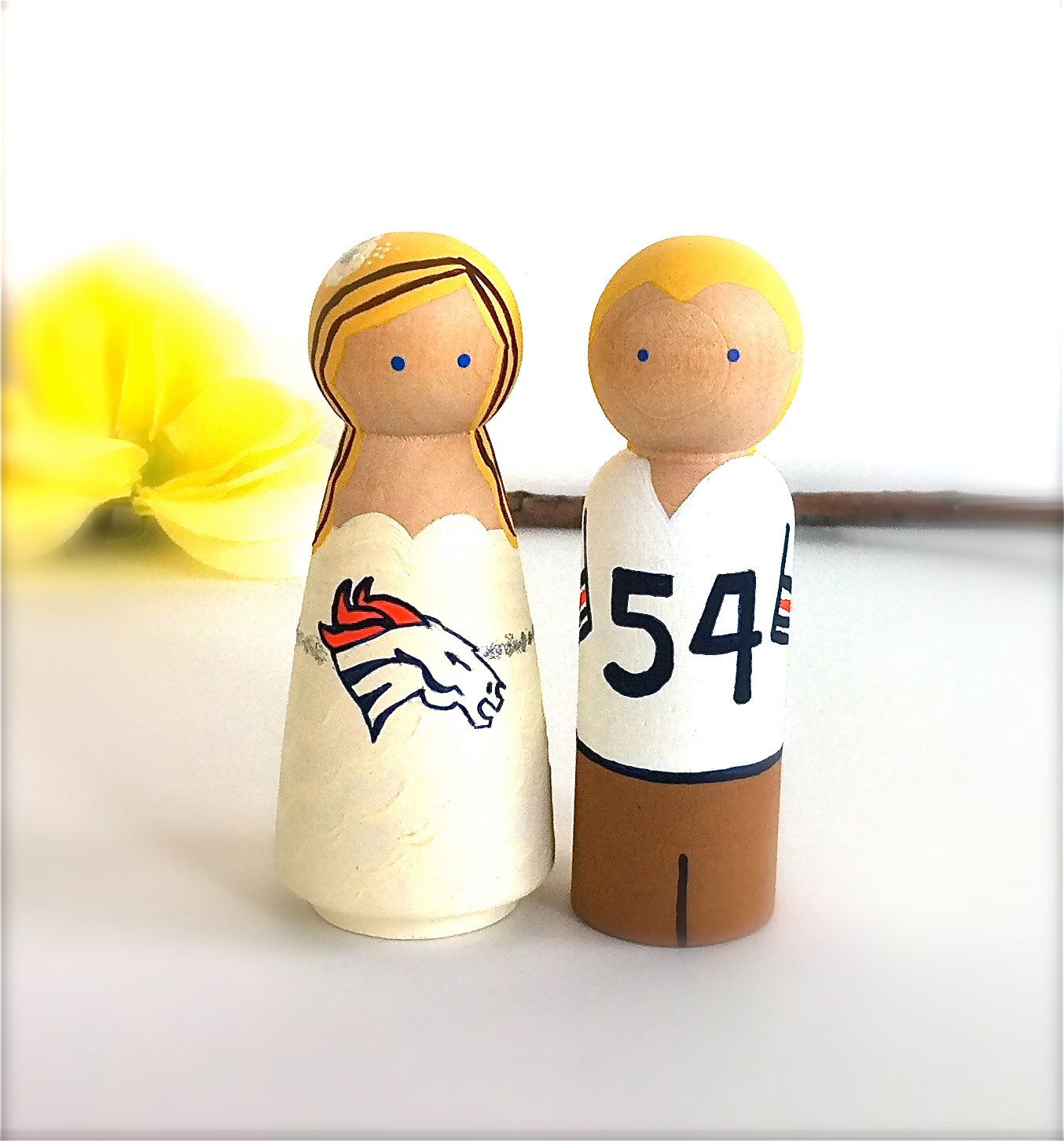 Custom Sports Wedding Cake Topper Denver Broncos Bride Groom Themed ...