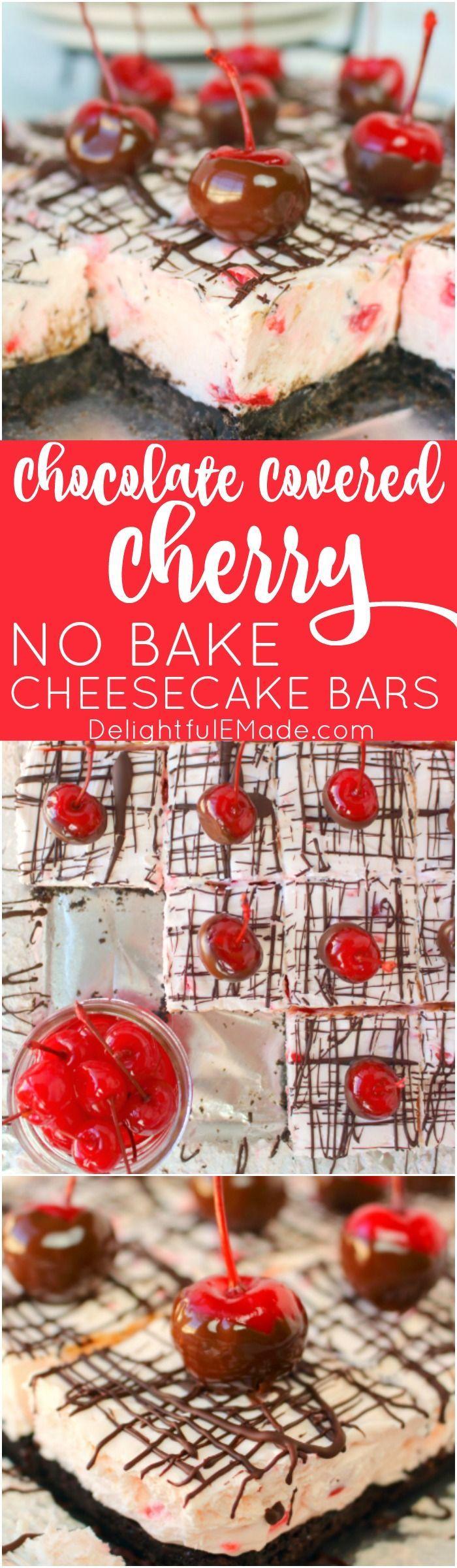 Chocolate Covered Cherry No Bake Cheesecake Bars