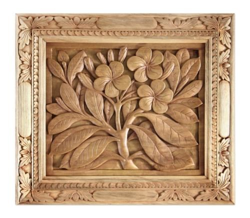 Wood Relief Panel Frangipani Flowers Wall Art Hand Carved 17