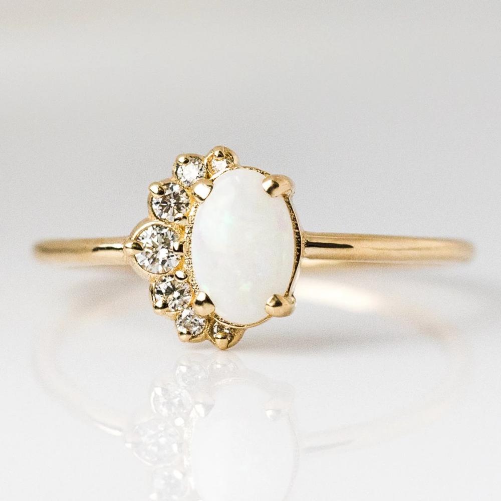 White Australian Opal & Diamond Astra Ring in 2020