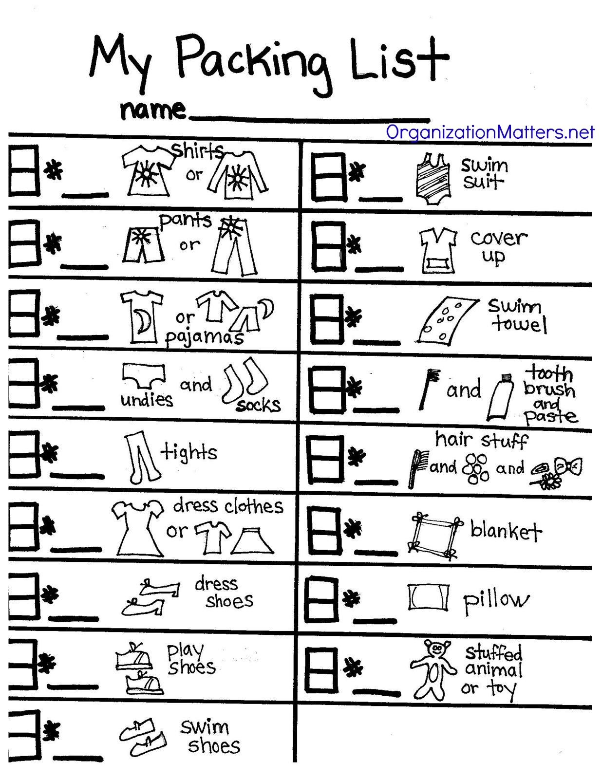 A Packing List Just For Kids