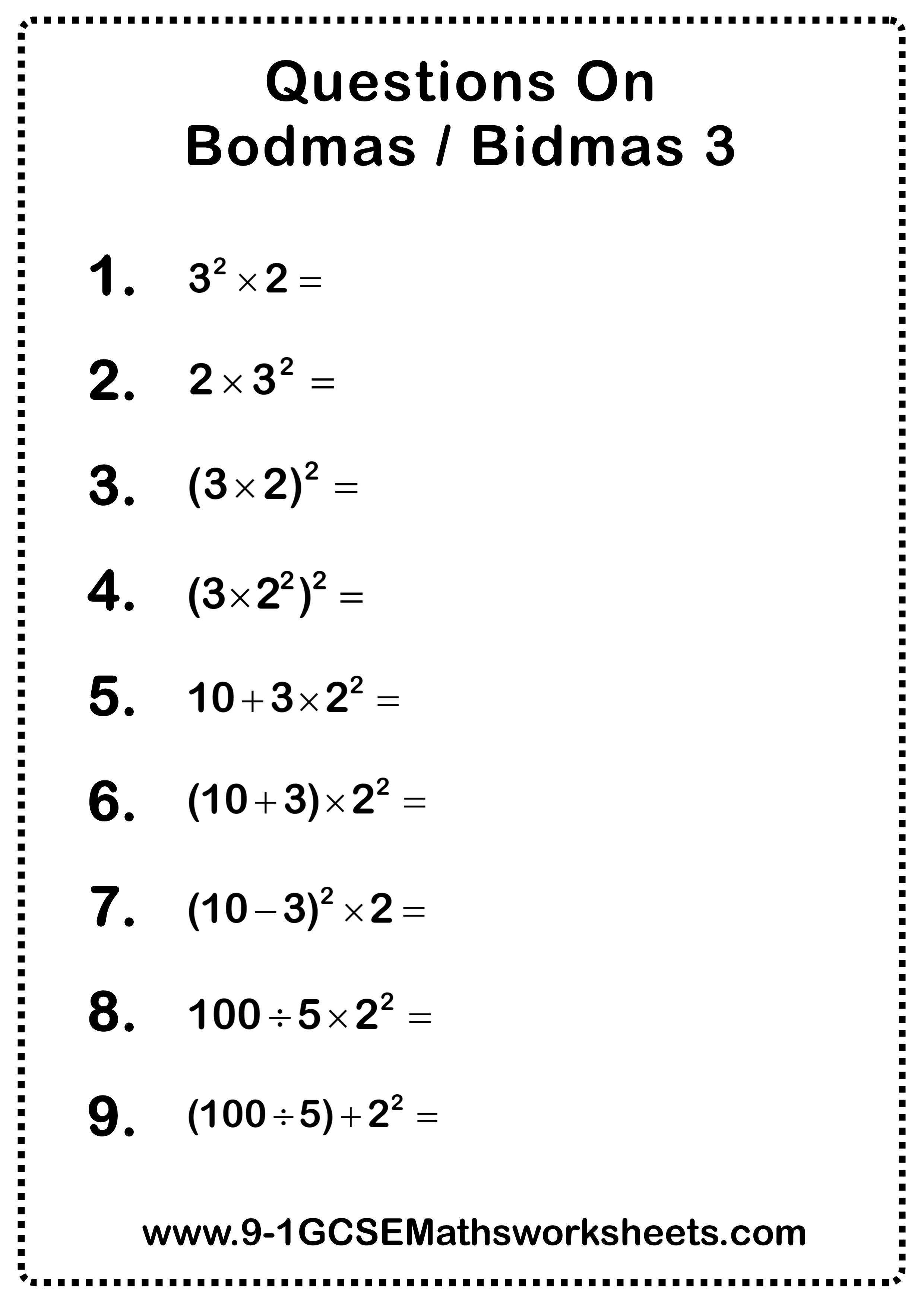 Bodmas Questions 3 Bodmas Grade 6 Math Worksheets Math Worksheet
