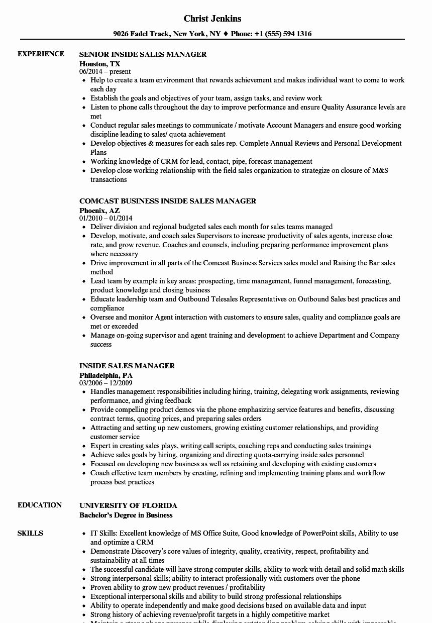 Inside Sales Resume Example Fresh Recruiting Sales Manager