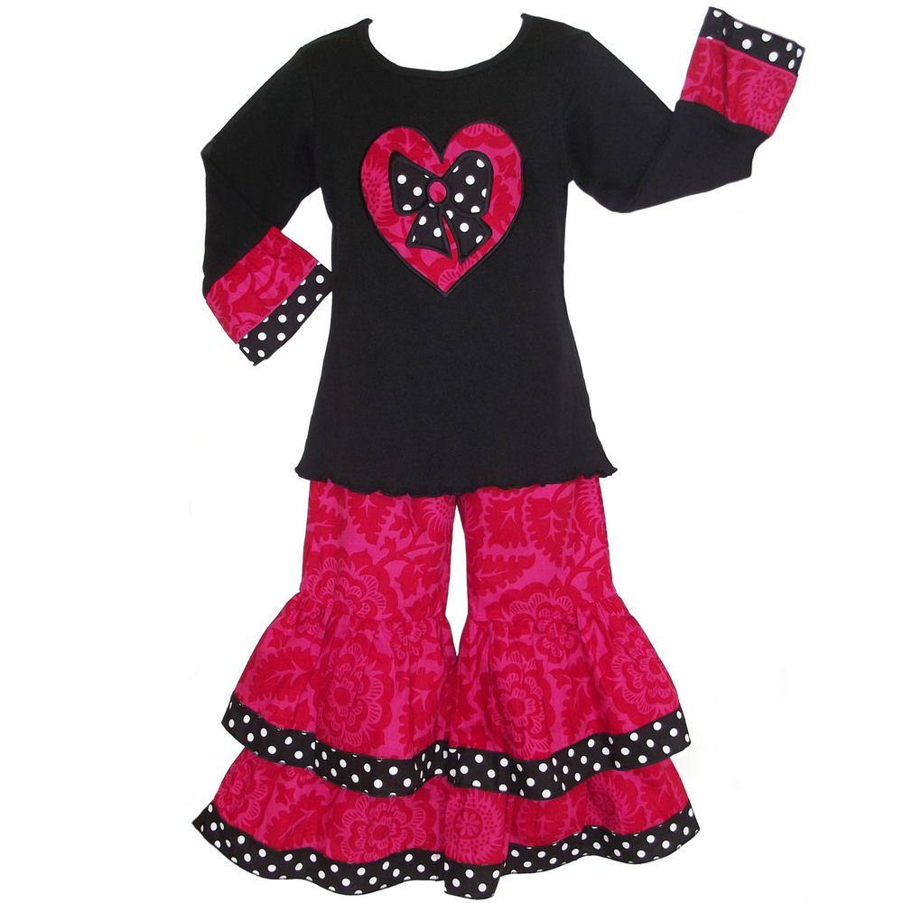 AnnLoren Girls Boutique Pink Floral Heart Outfit | Overstock.com Shopping - The Best Deals on Girls' Sets
