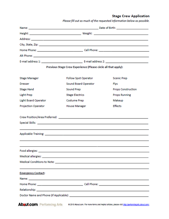 Stage Crew Application Form  Stage
