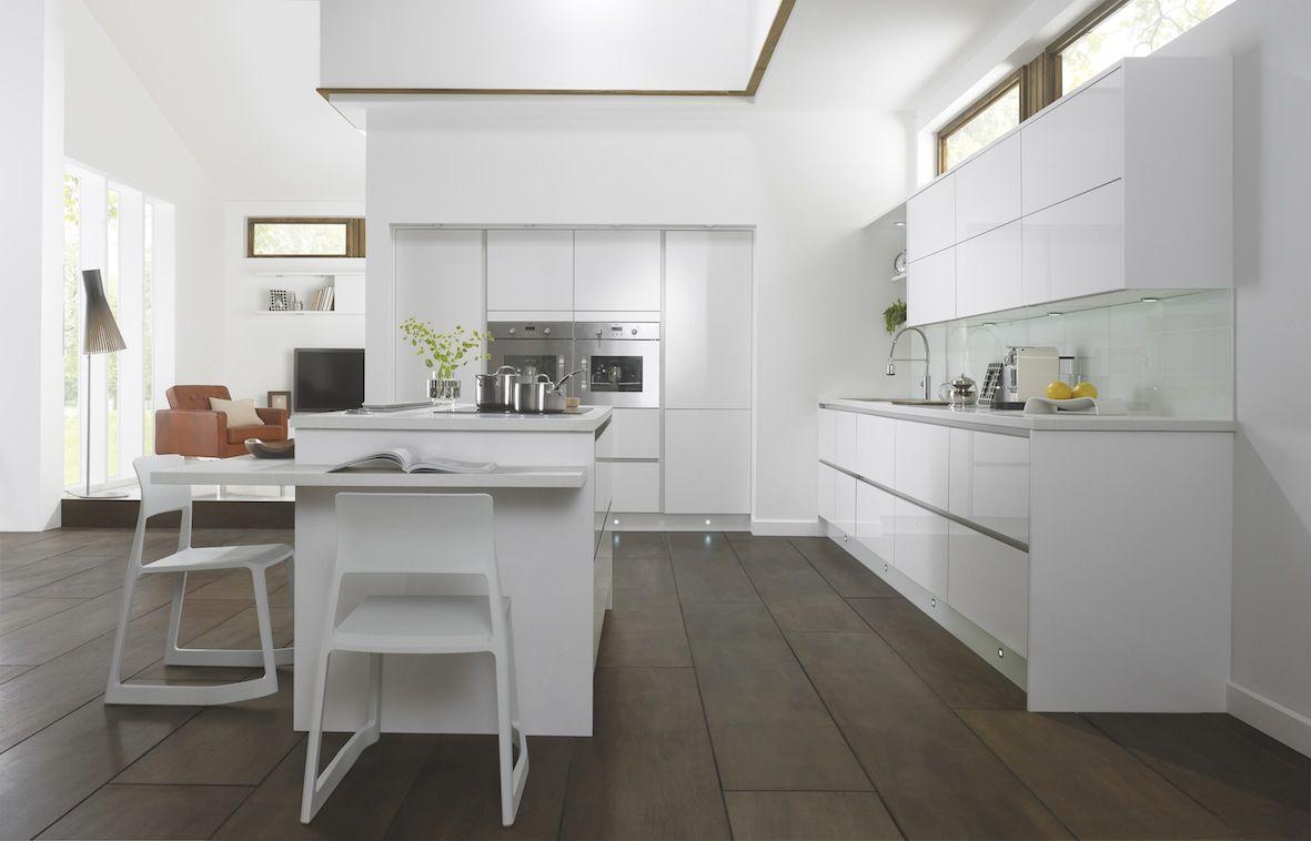 Sleek white kitchen, I added a walnut floor/windows and a splash of ...