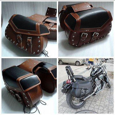 Rider Studded Leather Motorcycle Universal Saddlebags Motorbike