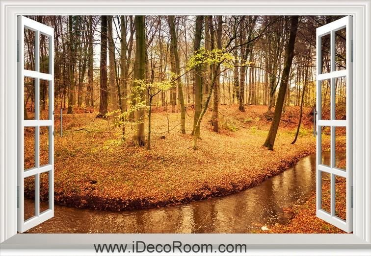 3D Forest Morning Tree light Window View Removable Wall Sticker Vinyl Home Decal