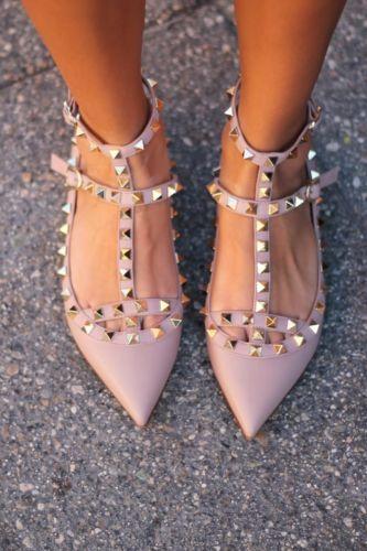 40e1559b5 Valentino Rockstud Studded Ballerina T Strap Flats Blush | eBay ...