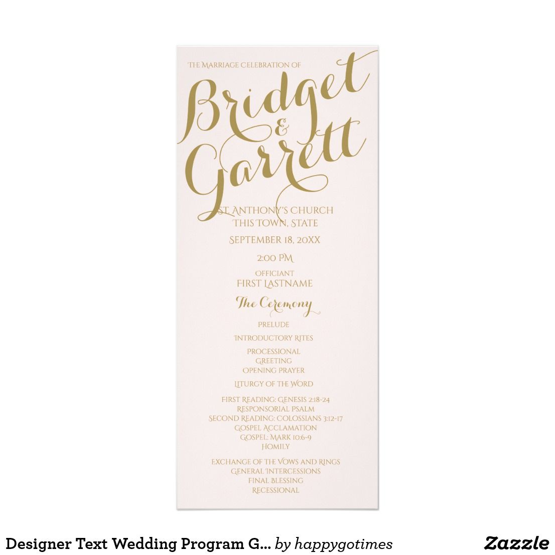 designer text wedding program gold wedding programs pinterest