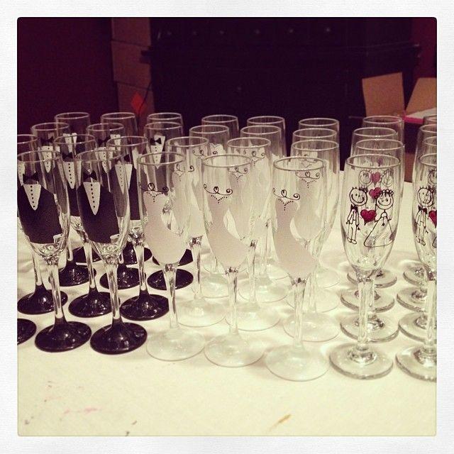 Custom painted wedding wine glasses by Judi Painted it.  Dishwasher safe and FREE personalization. www.JudiPaintedit.com $45 per set