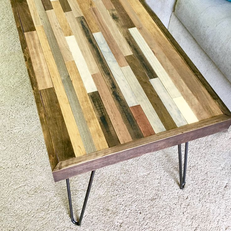 Barnwood coffee table with hairpin legs living room