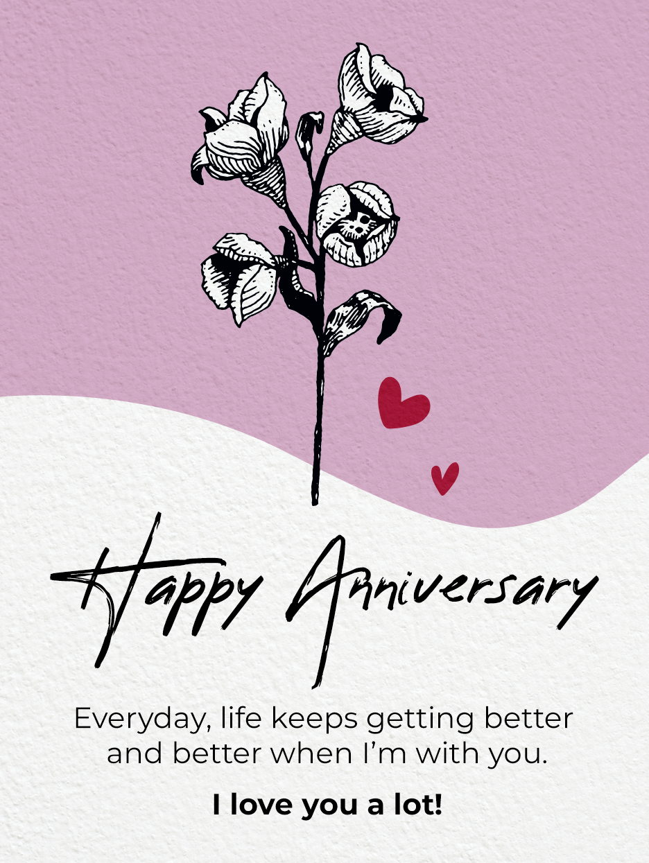 Flower For You Happy Anniversary Cards Birthday Greeting Cards By Davia Happy Anniversary Cards Anniversary Cards Birthday Greeting Cards