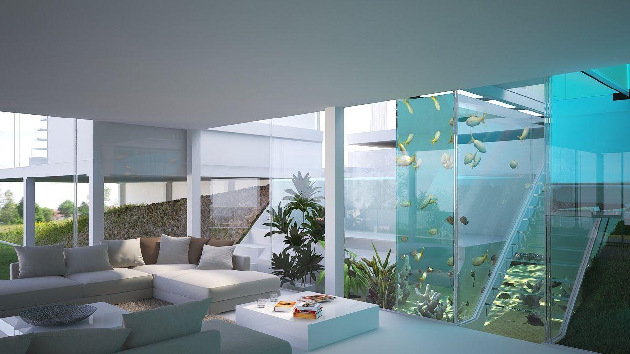 Photo of Blick vom Erholungsraum im Erdgeschoss auf das Aquarium und die Treppe zu …, #…