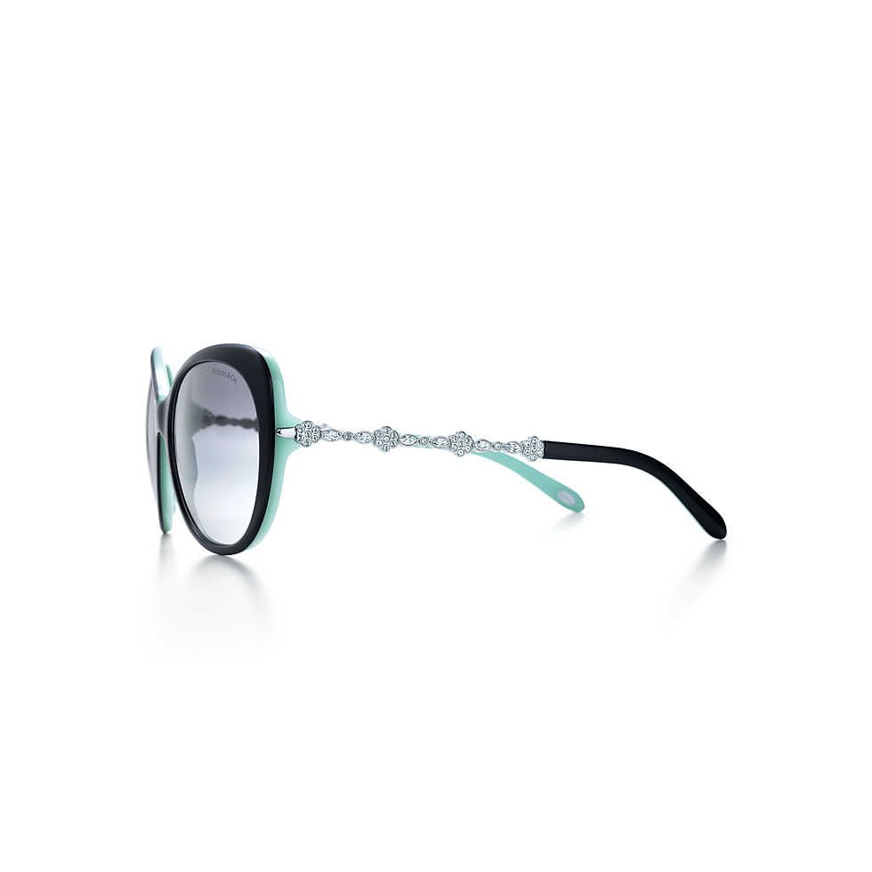 64b2b69c2a8 Tiffany Garden cat eye sunglasses in black acetate with Austrian crystals