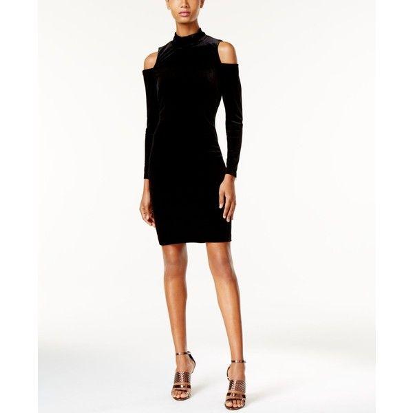 Calvin Klein Velvet Cold Shoulder Dress 90 Liked On Polyvore Featuring Dresses