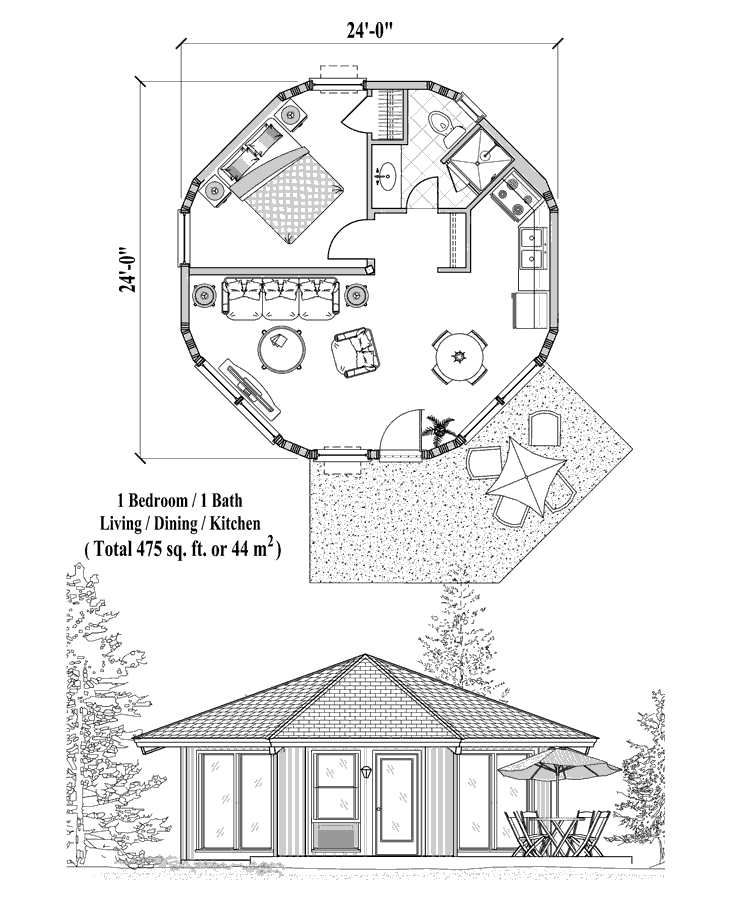 Online House Plan 1 Bedrooms 1 Baths 475 Sq Ft Patio Collection Pt 0121 A Frame House Plans Round House Plans Octagon House