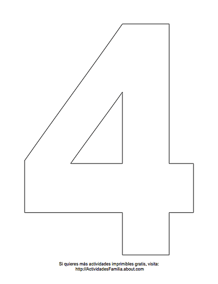 Dibujos De Numeros Para Colorear Numero 4 Para Colorear Moldes Letras Para Imprimir Numero Para Imprimir Imprimir Sobres