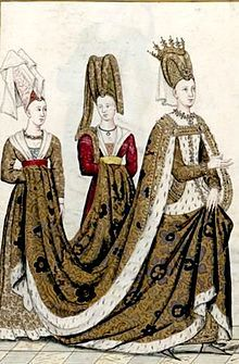 "Isabeau of Bavaria (aka ""Isabella""), seen on the right, was the mother of Catherine of Valois, grandmother to Henry VI and Edmund Tudor, great grandmother to Henry VII, and great-great grandmother to Henry VIII. She was married to Charles VI (""The Mad"") of France."