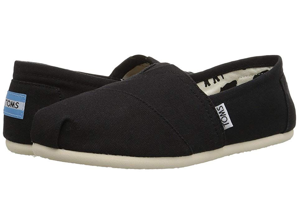 TOMS Classics Black Canvas Womens Slip on Shoes With every pair of shoes you purchase TOMS will give a new pair of shoes to a child in need One for One Keeping it simple...