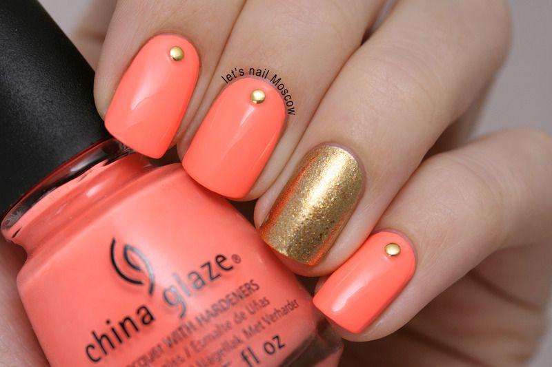salmon pink studded nail art