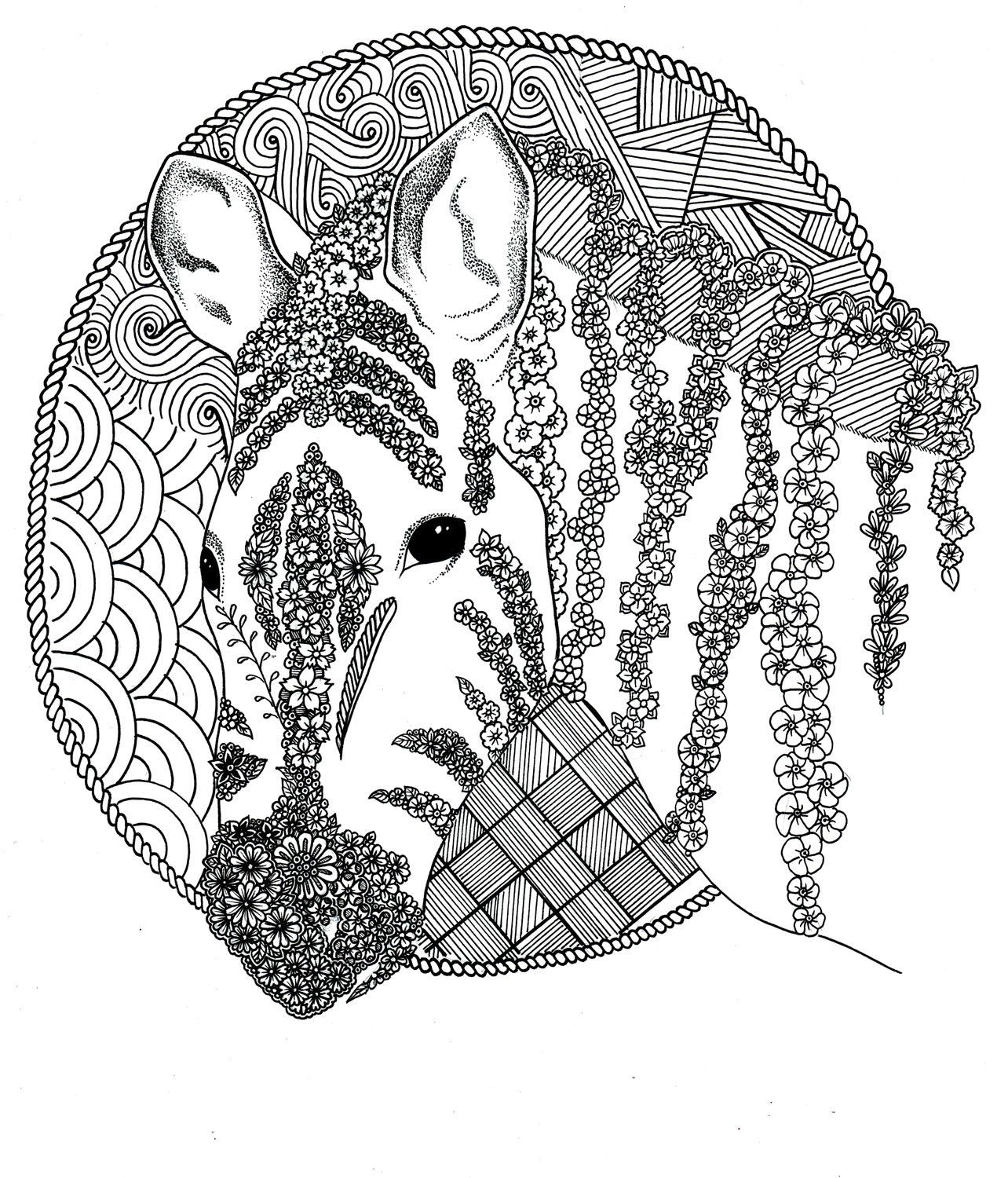 Zebra Coloring Page Zentangle Coloring Pages by ArtToColor ...