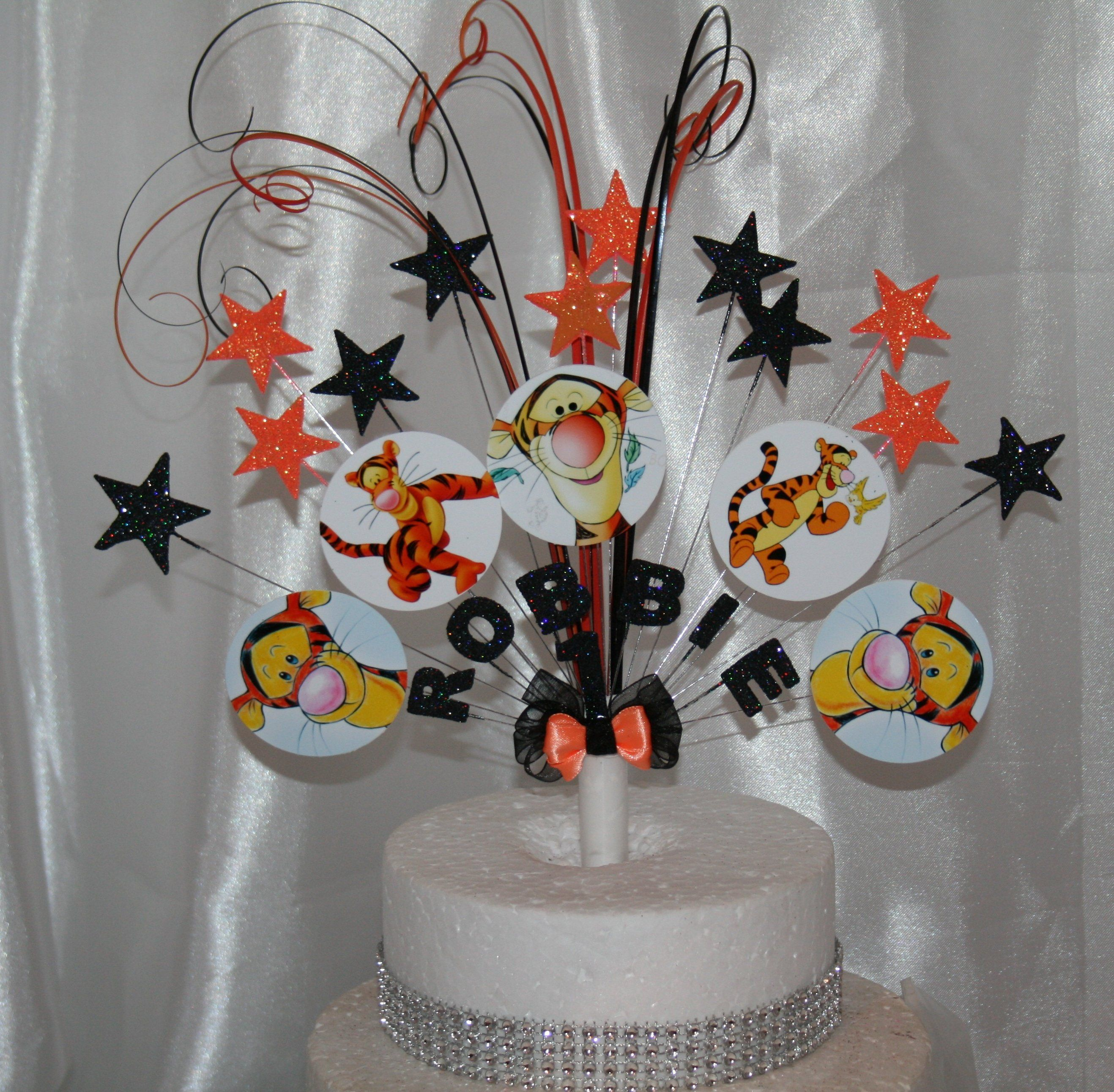 Tigger Glittered Cake Topper Spray Decoration Birthday 3rd 4th 5th 6th 7th 8th 9th 10th 11th 12th Any Age Colour Theme By Caketoppersprays On