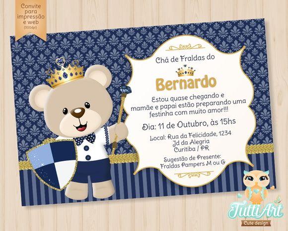 Convite Ursinho Príncipe Arte Digital Recuadros Sol