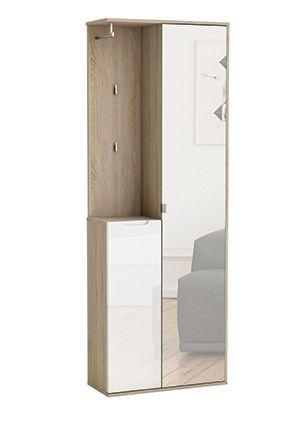 Garderobenschrank Norwin Dieser hochglänzende Garderobenschrank verstaut alles, was man im Eingangsbereich griffbereit unterbringen möchte. Die Spiegeltüre ermöglicht einen letzten Blick auf die...