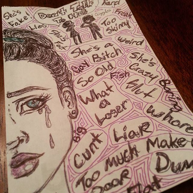 Sticks and stones.  Just a little doodle I did while I was bored at work.  #bored #doodle #girls #can #be #so #cruel #scap #paper #pen #drawing #sketch #meangirls #bully #bullies #sad #depressed #alone #isolation #outsider #donthateappreciate #bekind #beexcellenttoeachother