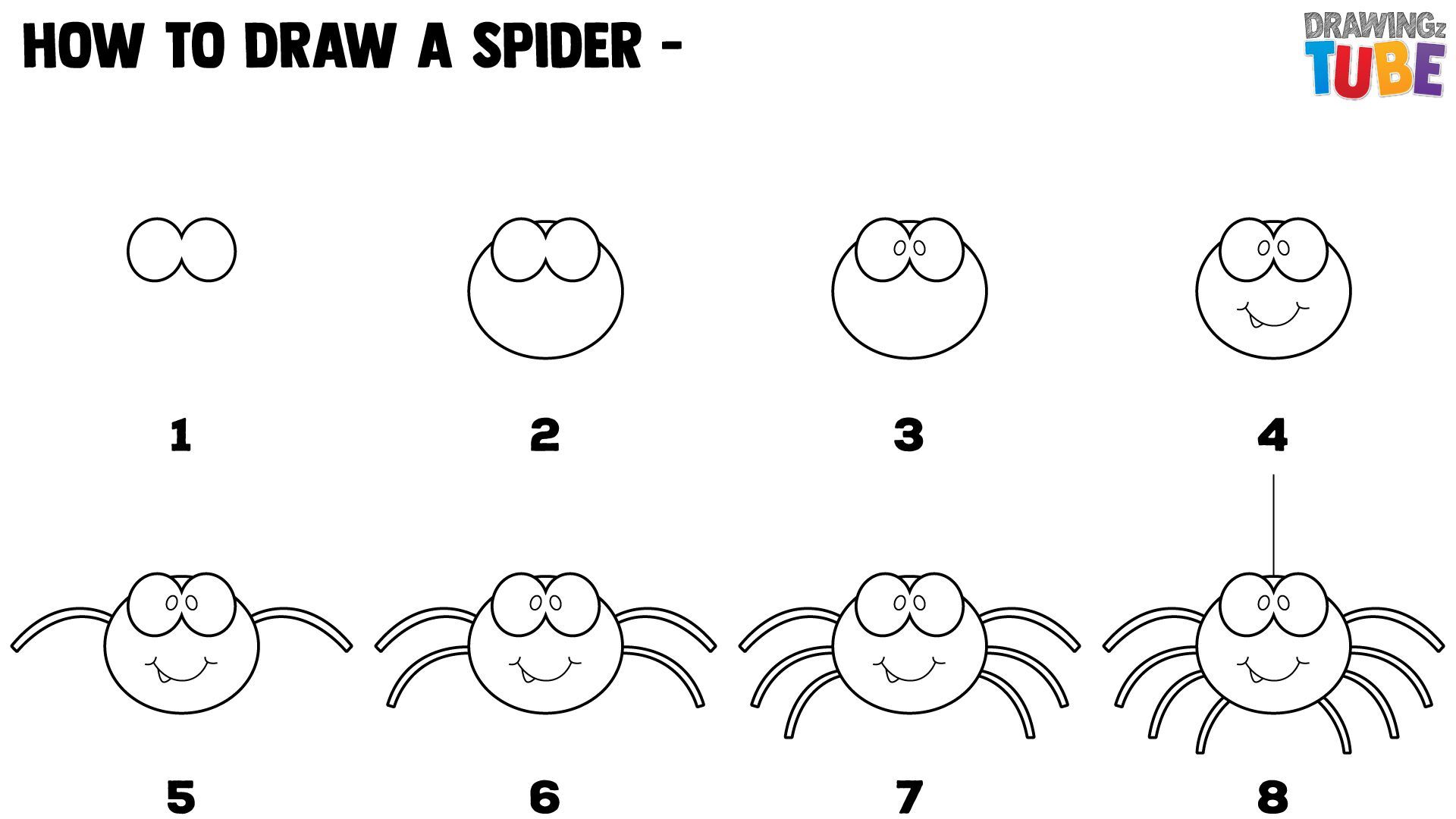 How To Draw A Spider For Kids Halloween Spider Drawing Spider