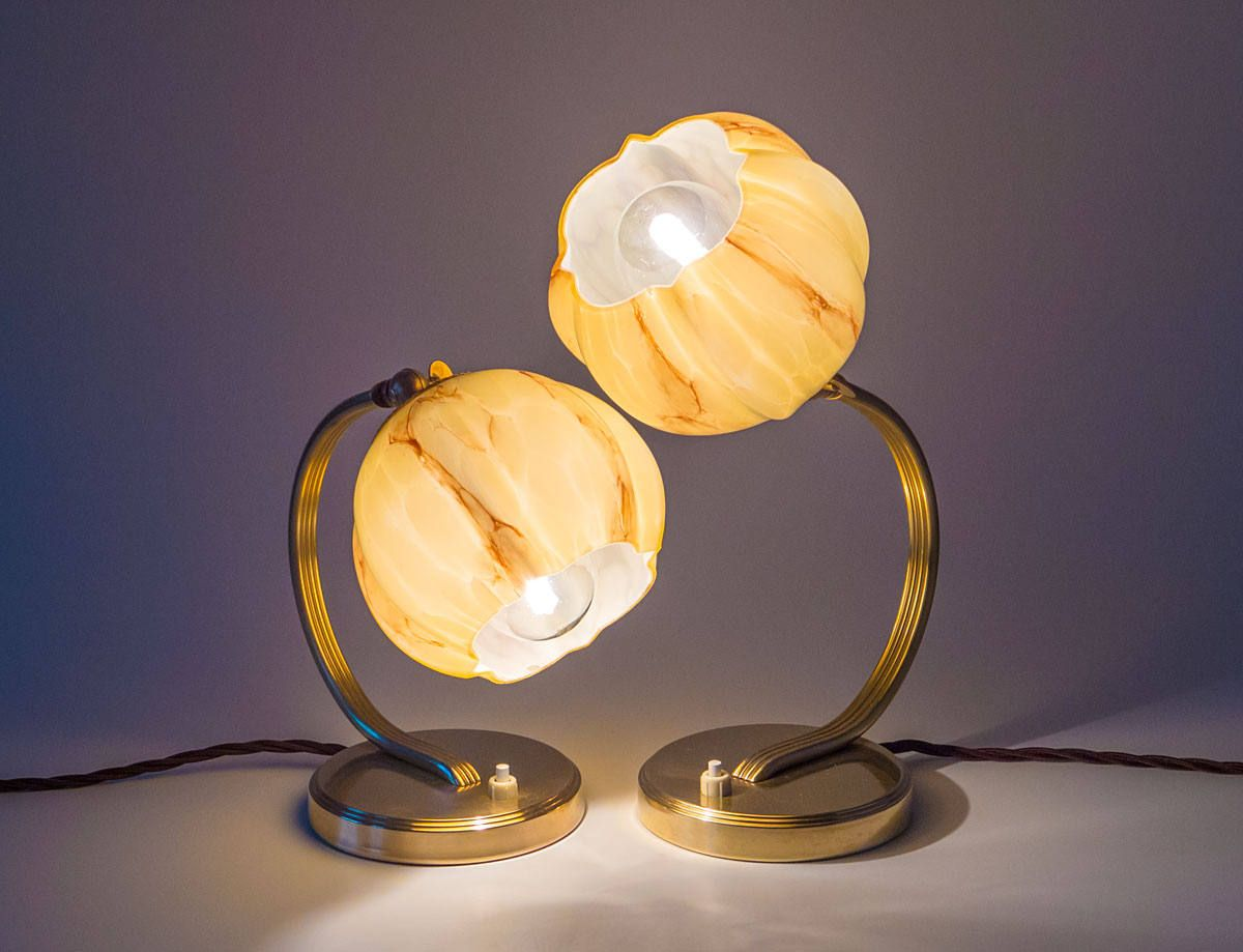 Exceptional Nachttischleuchte Schlafzimmer Beleuchtung #14: Schönes Pärchen Art Déco Nachttischleuchten, Vintage Um 1930, Antik,  Tischlampe, Nachttischlampe,