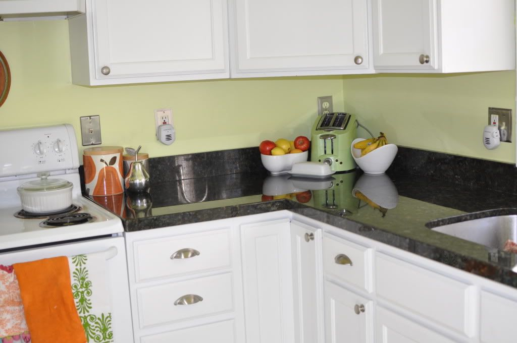 If you have white cabinets and cool colors | home | Pinterest ... Black And White Kitchen Cabinets Appliances Green Walls on green kitchen walls white cabinets black countertops, green cabinets with black countertops, green colored kitchen appliances,