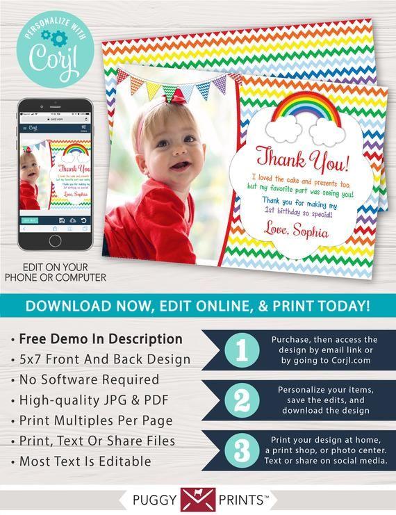 Rainbow Birthday Thank You Card with Photo | Editable ...