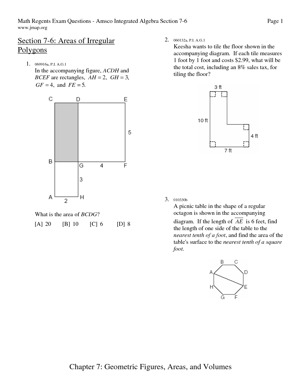 Area Of Polygons Worksheets Free Area Irregular Polygons